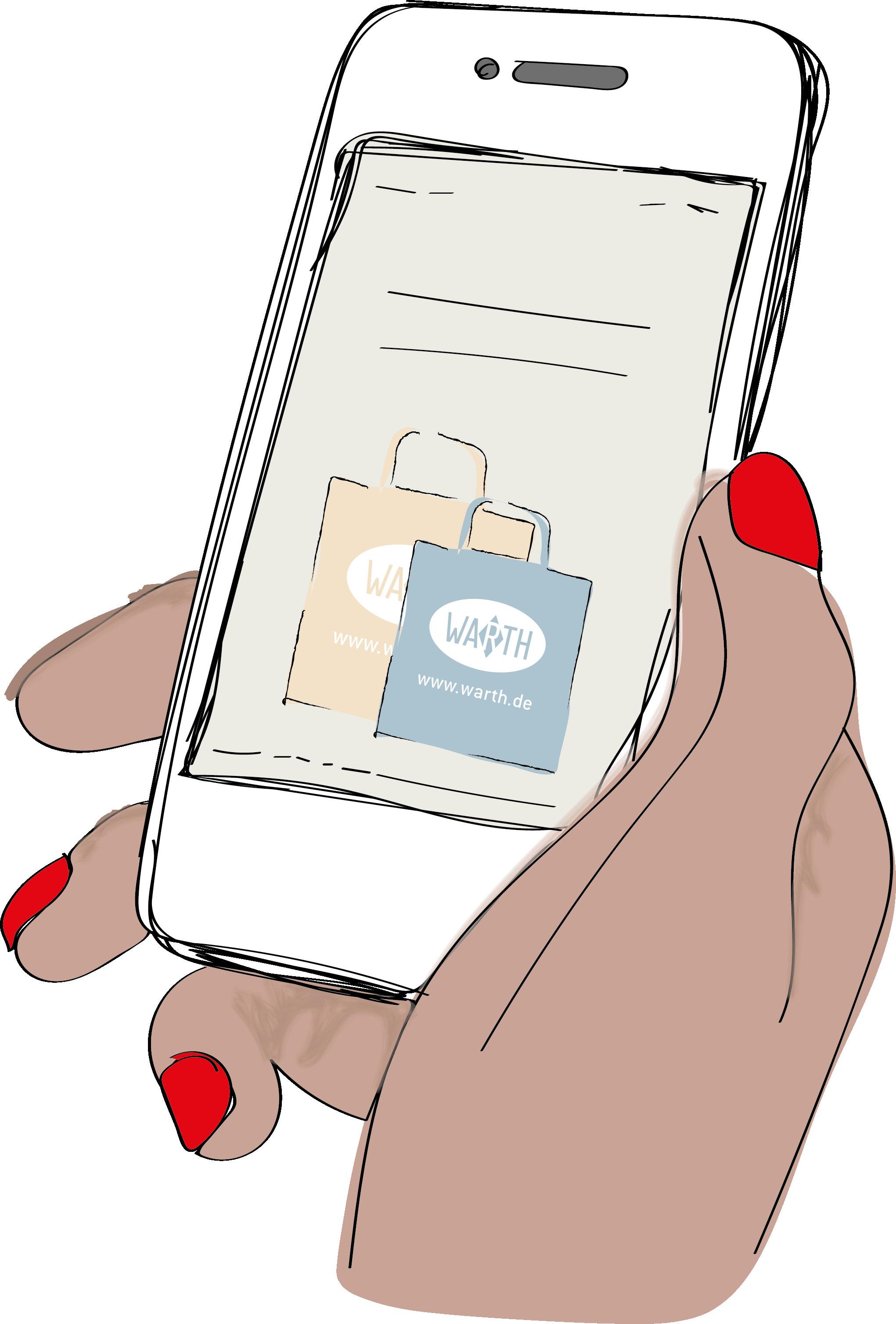 Gezeichnetes Bild einer Hand mit einem Smartphone