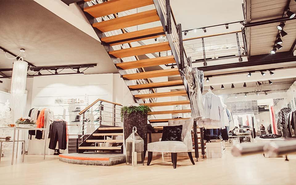 Treppenaufgang im Warth Store am Kesselplatz in Biberach