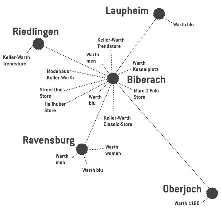 Karte mit der Standorte von Warth